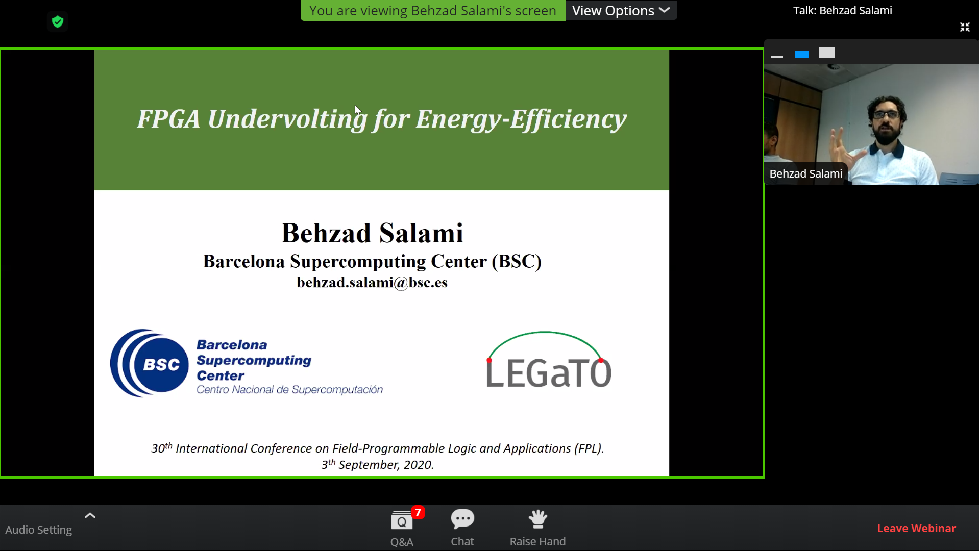 Behzad Salami presents during the tutorial